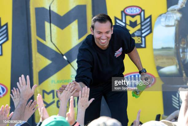 Hector Arana Jr NHRA Pro Stock Motorcycle is introduced to the crowd during prerace festivities before the start of the NHRA AAA Midwest Nationals on...