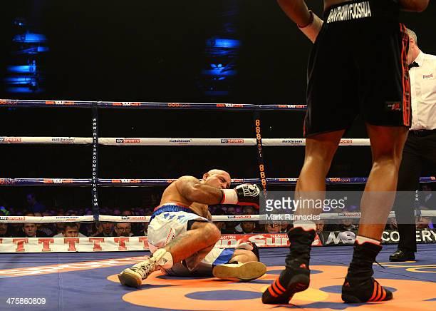 Hector Avila receives a count after being knocked dow by Anthony Joshua during an undercard bout at the WBO World Lightweight Championship Boxing...