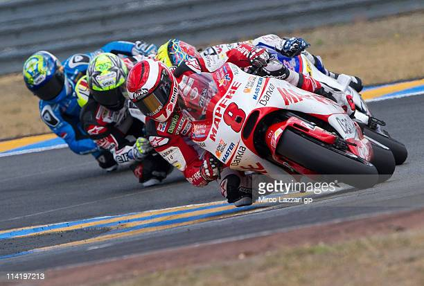 Hector Barbera of Spain and Aspar Ducati Team leads the field during the MotoGP race of MotoGP of France in Le Mans Circuit on May 15 2011 in Le Mans...