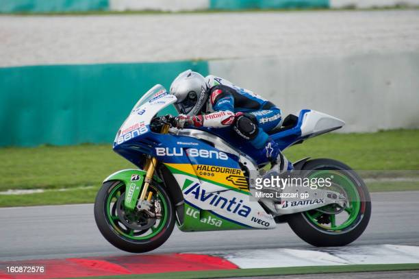 Hector Barbera of Spain and Avintia Blusens heads down a straight during the MotoGP Tests in Sepang Day Five at Sepang Circuit on February 7 2013 in...