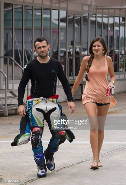 Hector Barbera of Spain and Avintia Blusens walks in paddock during MotoGP Tests in Sepang Day Three at Sepang Circuit on February 28 2013 in Kuala...