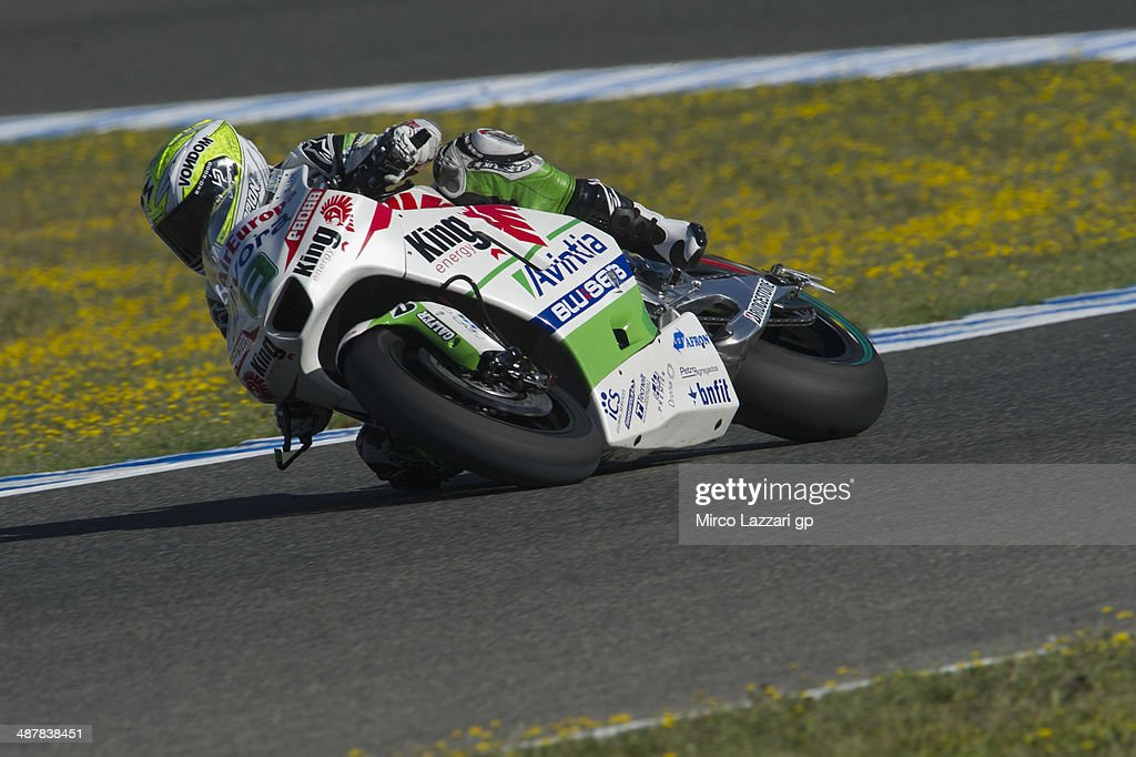 Hector Barbera of Spain and Avintia Racing rounds the bend during the MotoGp of Spain - Free Practice at Circuito de Jerez on May 2, 2014 in Jerez de la Frontera, Spain.
