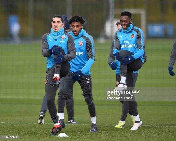 Hector Bellerin Alex Iwobi and Danny Welbeck of Arsenal during a training session at the London Colney on February 9 2018 in St Albans United Kingdom