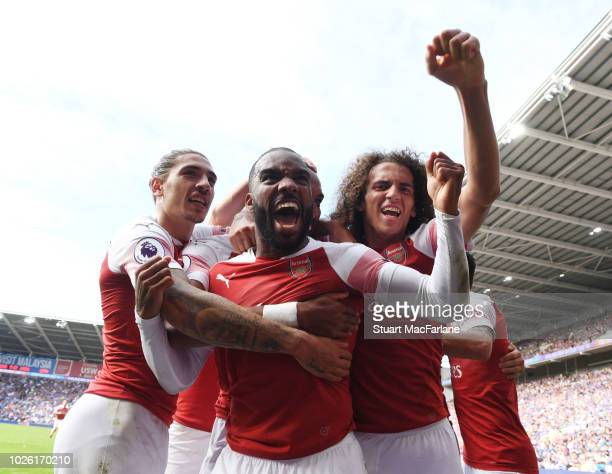 Hector Bellerin Alex Lacazette and Matteo Guendouzi celebrates the 2nd Arsenal goal scored by PierreEmerick Aubmeyang during the Premier League match...