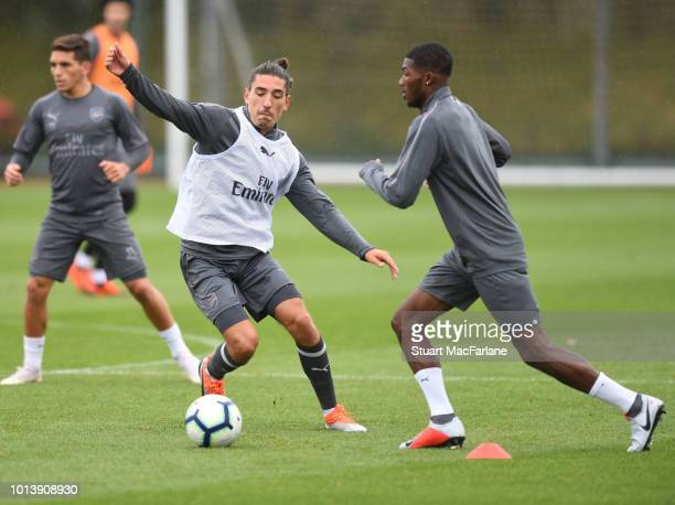 Hector Bellerin and Ainsley MaitlandNiles of Arsenal during a training session at London Colney on August 10 2018 in St Albans England