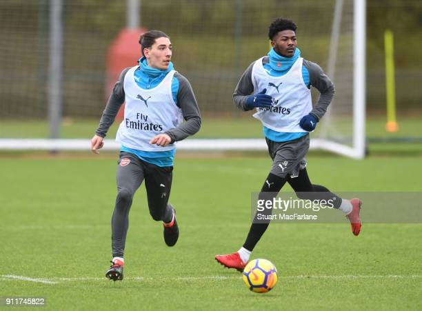 Hector Bellerin and Ainsley MaitlandNiles of Arsenal during a training session at London Colney on January 29 2018 in St Albans England