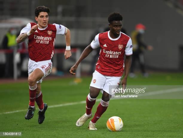 Hector Bellerin and Bukayo Saka of Arsenal during the UEFA Europa League Round of 32 match between Arsenal FC and SL Benfica at Karaiskakis Stadium...