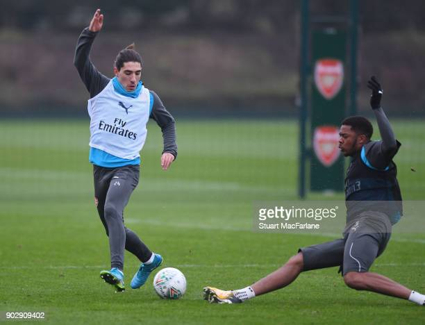 Hector Bellerin and Chuba Akpom of Arsenal during a training session at London Colney on January 9 2018 in St Albans England