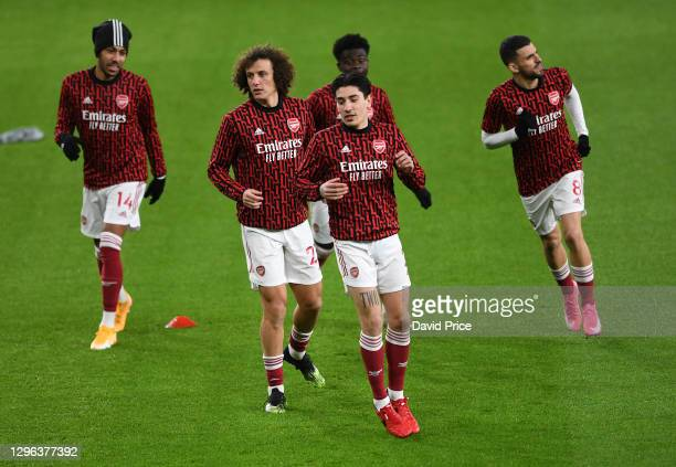 Hector Bellerin and David Luiz of Arsenal warm up before the Premier League match between Arsenal and Crystal Palace at Emirates Stadium on January...