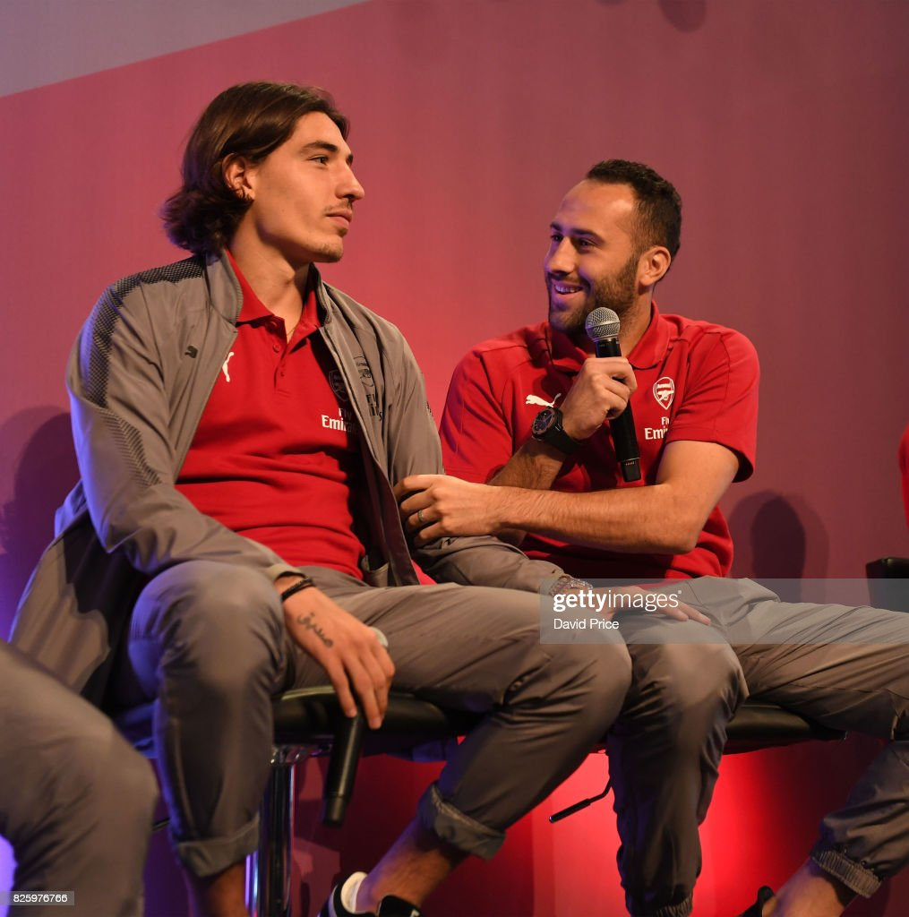 Hector Bellerin and David Ospina of Arsenal takes part in a Q&A during Memebers Day at Emirates Stadium on August 3, 2017 in London, England.