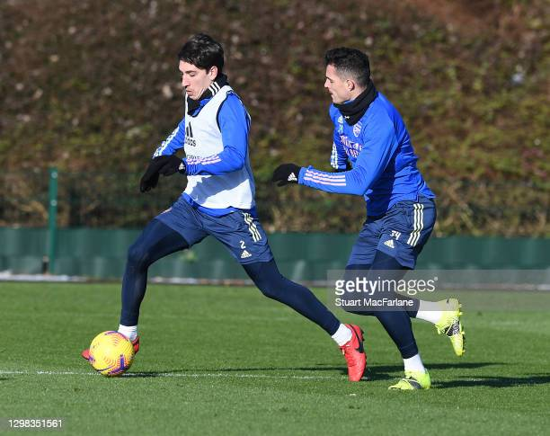 Hector Bellerin and Granit Xhaka of Arsenal during a training session at London Colney on January 25, 2021 in St Albans, England.