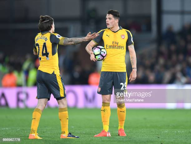 Hector Bellerin and Granit Xhaka of Arsenal during the Premier League match between Crystal Palace and Arsenal at Selhurst Park on April 10 2017 in...