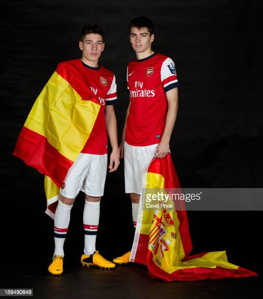 Hector Bellerin and Jon Toral of Arsenal pose during a photo shoot at London Colney on January 07, 2013 in St Albans, England.