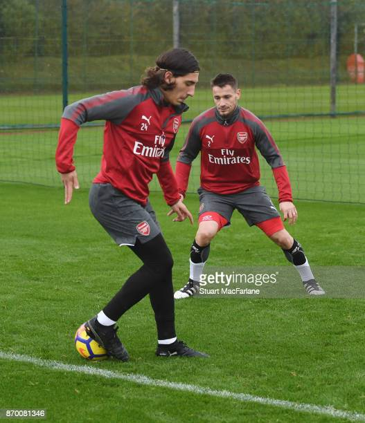 Hector Bellerin and Mathieu Debuchy of Arsenal during a training session at London Colney on November 4 2017 in St Albans England