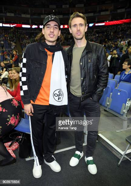Hector Bellerin and Nacho Monreal attend the Philadelphia 76ers and Boston Celtics NBA London game at The O2 Arena on January 11 2018 in London...