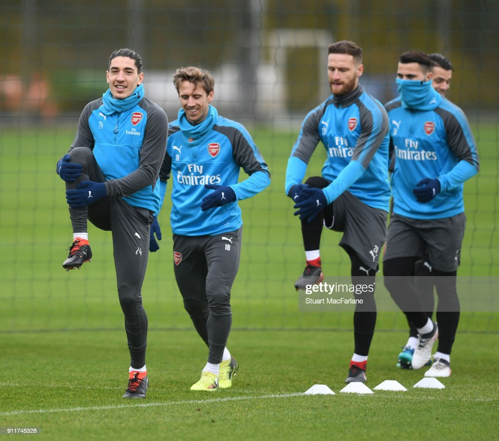 Hector Bellerin and Nacho Monreal of Arsenal during a training session at London Colney on January 29, 2018 in St Albans, England.