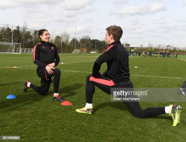 Hector Bellerin and Nacho Monreal of Arsenal during a training session at London Colney on March 14 2018 in St Albans England