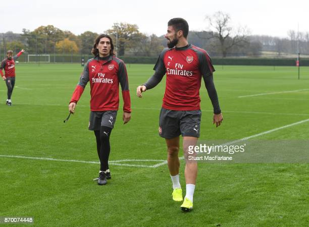 Hector Bellerin and Olivier Giroud of Arsenal after a training session at London Colney on November 4 2017 in St Albans England