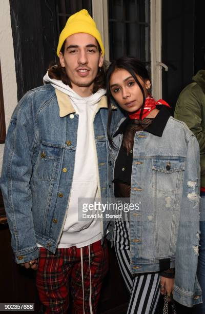 Hector Bellerin and Shree Patel attend the LFWM Official Party Pub LockIn during London Fashion Week Men's January 2018 at The George on January 7...