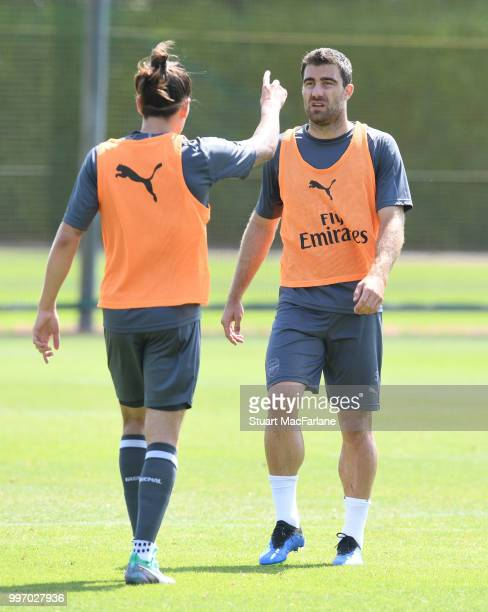 Hector Bellerin and Sokratis of Arsenal during a training session at London Colney on July 12 2018 in St Albans England