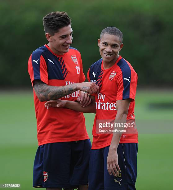 Hector Bellerin and Wellington Silva of Arsenal during a training session at London Colney on July 7 2015 in St Albans England