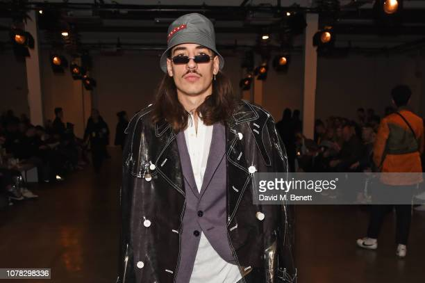 Hector Bellerin attends the Christopher Raeburn show during London Fashion Week Men's January 2019 at the BFC Show Space on January 6 2019 in London...