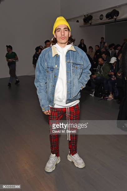 Hector Bellerin attends the Christopher Raeburn show during London Fashion Week Men's January 2018 at BFC Show Space on January 7 2018 in London...