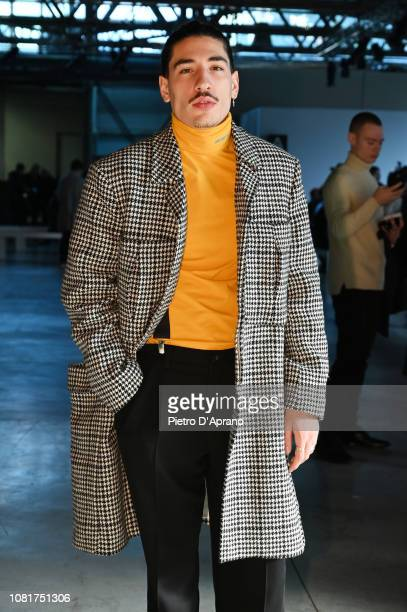Hector Bellerin attends the MSGM show during Milan Menswear Fashion Week Autumn/Winter 2019/20 on January 13, 2019 in Milan, Italy.