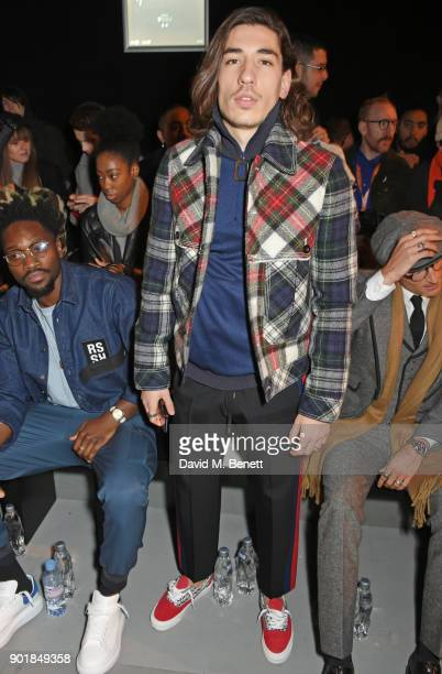 Hector Bellerin attends the Oliver Spencer LFWM AW18 Catwalk Show at the BFC Show Space on January 6 2018 in London England