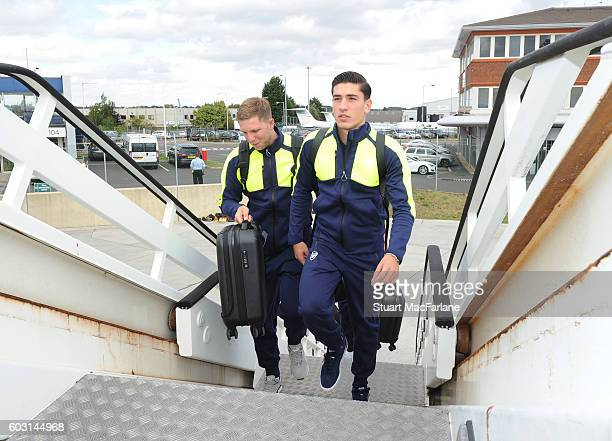 Hector Bellerin boards the Arsenal plane to Paris at Luton Airport on September 12 2016 in Luton England