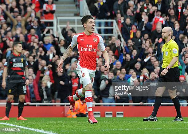 Hector Bellerin celebrates scoring Arsenal's 1st goal during the match between Arsenal and Liverpool in the Barclays Premier League at Emirates...