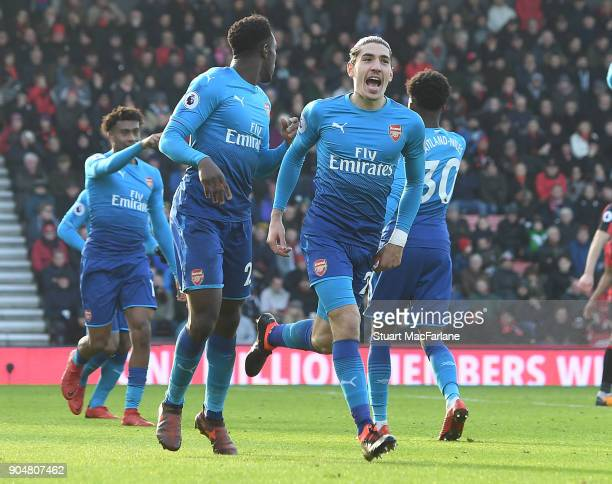 Hector Bellerin celebrates scoring for Arsenal during the Premier League match between AFC Bournemouth and Arsenal at Vitality Stadium on January 14...