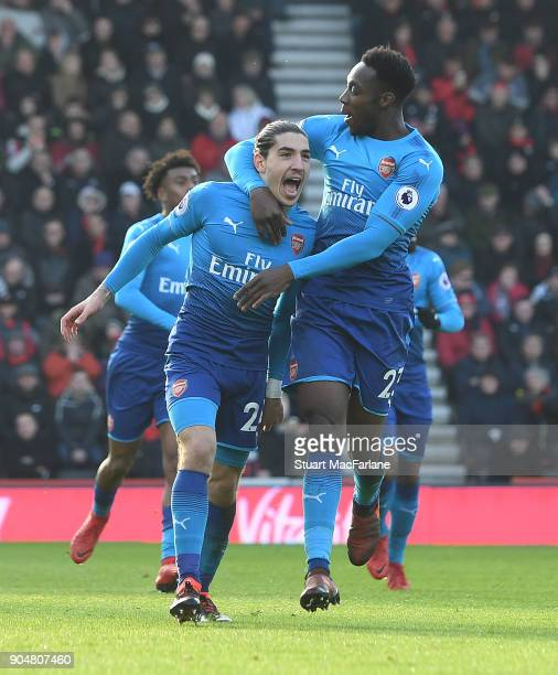 Hector Bellerin celebrates scoring for Arsenal with Danny Welbeck during the Premier League match between AFC Bournemouth and Arsenal at Vitality...