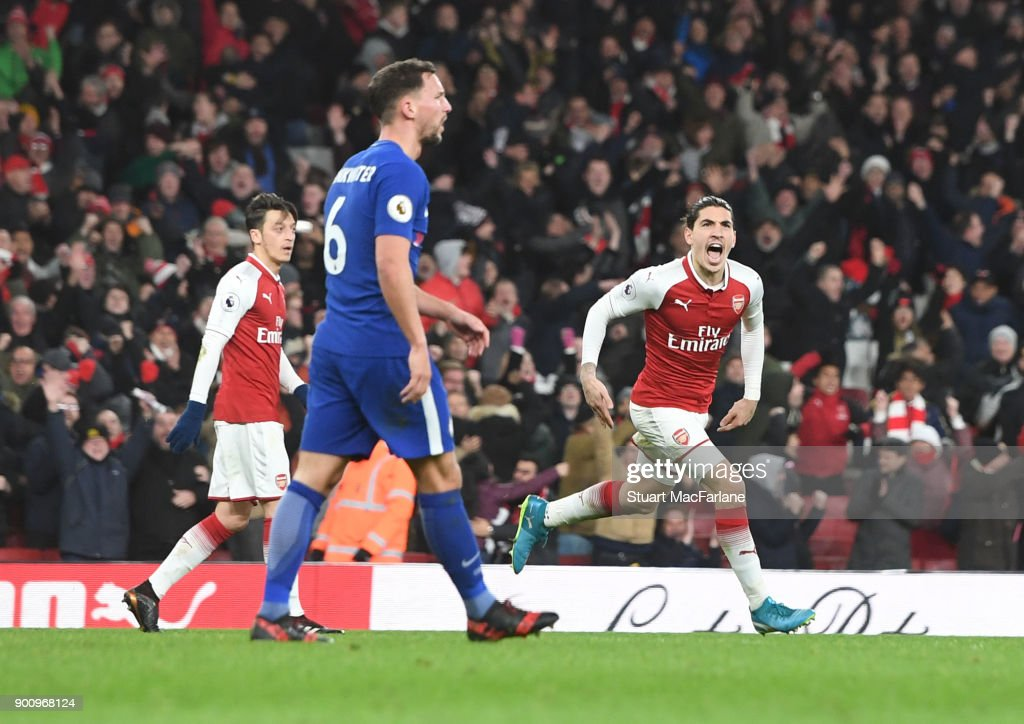 Hector Bellerin celebrates scoring the 2nd Arsenal goal during the Premier League match between Arsenal and Chelsea at Emirates Stadium on January 3, 2018 in London, England.