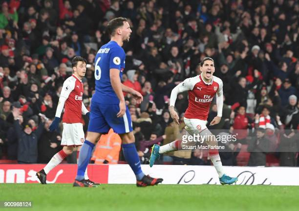 Hector Bellerin celebrates scoring the 2nd Arsenal goal during the Premier League match between Arsenal and Chelsea at Emirates Stadium on January 3...