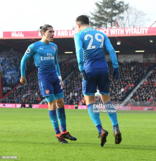 Hector Bellerin celebrates scoring the Arsenal goal with Granit Xhaka during the Premier League match between AFC Bournemouth and Arsenal at Vitality...
