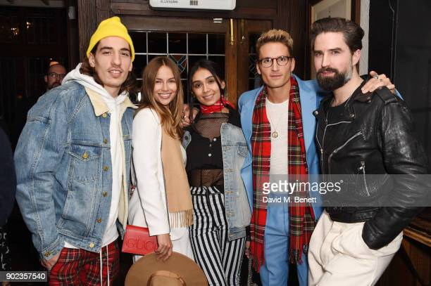 Hector Bellerin Emma Louise Connolly Shree Patel Oliver Proudlock and Jack Guinness attend the LFWM Official Party Pub LockIn during London Fashion...