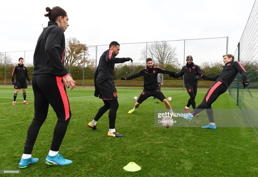Hector Bellerin, Francis Coquelin, Olivier Giroud, Alexandre Lacazette and Nacho Monreal of Arsenal during the Arsenal training session, on the eve of the UEFA Europa League group H match against BATE Borisov, at London Colney on December 6, 2017 in St Albans, England.