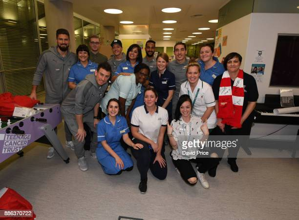 Hector Bellerin Laurent Koscielny Mesut Ozil Olivier Giroud and Theo Walcott visit the Teenage Cancer Trust Unit in University College Hospital on...