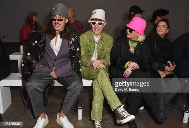 Hector Bellerin Leo Mandella and Cora Delaney attend the Christopher Raeburn show during London Fashion Week Men's January 2019 at the BFC Show Space...