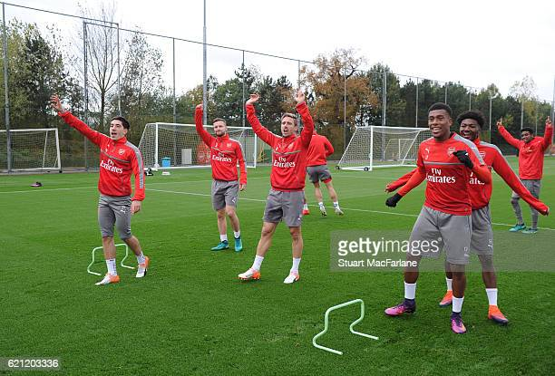 Hector Bellerin, Nacho Monreal, Alex Iwobi and Ainsley Maitland-Niles of Arsenal during a training session at London Colney on November 5, 2016 in St...