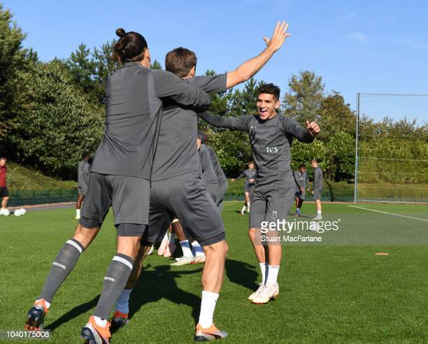 Hector Bellerin Nacho Monreal and Lucas Torreira of Arsenal during a training session at London Colney on September 25 2018 in St Albans England