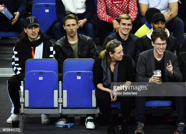 Hector Bellerin Nacho Montreal and Antoine Griezmann during the NBA game between Boston Celtics and Philadelphia 76ers at The O2 Arena on January 11...
