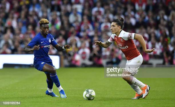 Hector Bellerin of Arsenal and Callum HudsonOdoi of Chelsea during the Preseason friendly International Champions Cup game between Arsenal and...