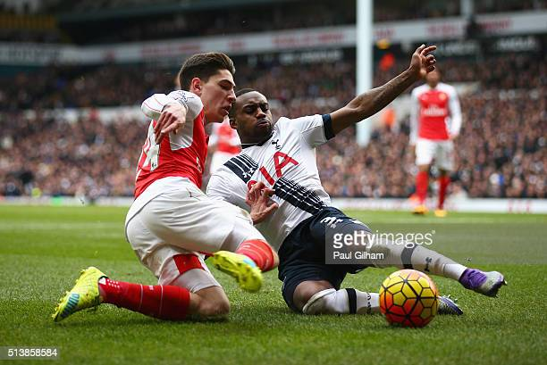 Hector Bellerin of Arsenal and Danny Rose of Tottenham Hotspur compete for the ball during the Barclays Premier League match between Tottenham...