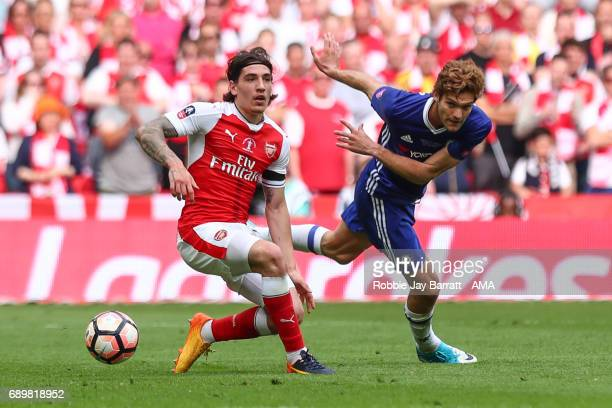Hector Bellerin of Arsenal and Marcos Alonso of Chelsea during the Emirates FA Cup Final match between Arsenal and Chelsea at Wembley Stadium on May...