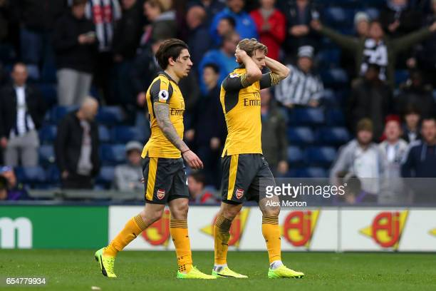 Hector Bellerin of Arsenal and Nacho Monreal of Arsenal look dejected after the Premier League match between West Bromwich Albion and Arsenal at The...