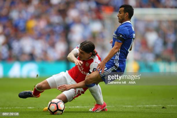 Hector Bellerin of Arsenal and Pedro of Chelsea during the Emirates FA Cup Final match between Arsenal and Chelsea at Wembley Stadium on May 27 2017...