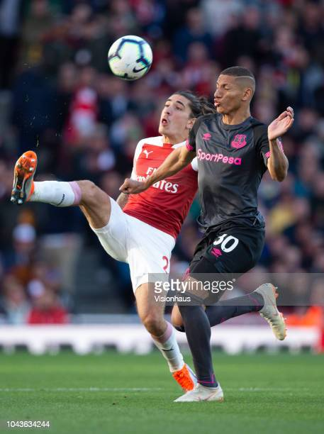 Hector Bellerin of Arsenal and Richarlison of Evertonn during the Premier League match between Arsenal FC and Everton FC at the Emirates Stadium on...