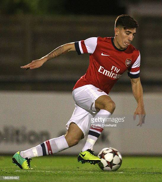 Hector Bellerin of Arsenal attacks during the UEFA Youth League match between Arsenal U19 and Borussia Dortmund U19 at Meadow Park on October 23,...